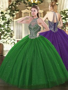 Green 15th Birthday Dress Military Ball and Sweet 16 and Quinceanera with Beading Halter Top Sleeveless Lace Up