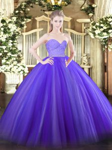 New Style Lavender Ball Gowns Beading and Lace Quince Ball Gowns Zipper Tulle Sleeveless Floor Length