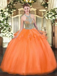 Tulle Sleeveless Floor Length Quinceanera Dresses and Beading and Ruffles