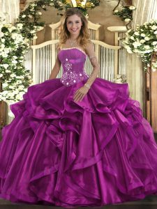 Admirable Sleeveless Beading and Ruffles Lace Up Quinceanera Gown