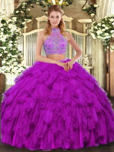 Two Pieces Quince Ball Gowns Fuchsia Halter Top Organza Sleeveless Floor Length Criss Cross