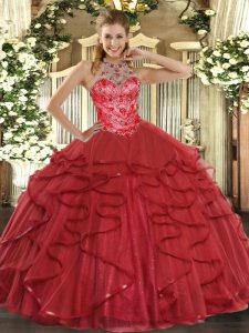Coral Red Ball Gowns Beading and Ruffles 15 Quinceanera Dress Lace Up Organza Sleeveless Floor Length
