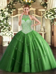 Fabulous Green Halter Top Neckline Beading and Appliques Vestidos de Quinceanera Sleeveless Lace Up