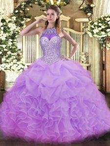 Organza Sleeveless Floor Length Ball Gown Prom Dress and Beading and Ruffles and Pick Ups