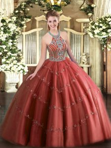 Luxurious Floor Length Wine Red Ball Gown Prom Dress Halter Top Sleeveless Lace Up