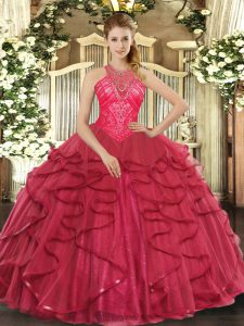 Coral Red High-neck Lace Up Beading and Ruffles Quinceanera Gowns Sleeveless