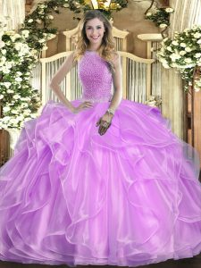 Top Selling Floor Length Lace Up 15 Quinceanera Dress Lilac for Military Ball and Sweet 16 and Quinceanera with Beading and Ruffles