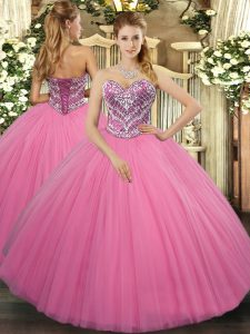 Comfortable Rose Pink Tulle Lace Up Sweetheart Sleeveless Floor Length Quinceanera Gowns Beading