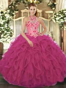 Elegant Beading and Embroidery and Ruffles Quinceanera Dress Hot Pink Lace Up Sleeveless Floor Length