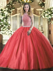Red Ball Gowns Tulle High-neck Sleeveless Beading Floor Length Lace Up Quinceanera Dress