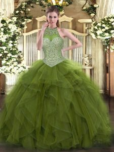 Stunning Olive Green Ball Gowns Halter Top Sleeveless Tulle Floor Length Lace Up Beading 15th Birthday Dress