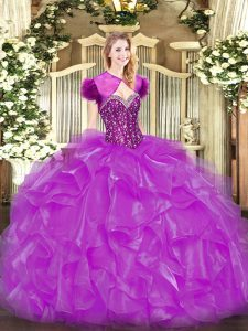 Fine Fuchsia 15 Quinceanera Dress Military Ball and Sweet 16 and Quinceanera with Beading and Ruffles Sweetheart Sleeveless Lace Up