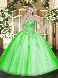 Decent Sleeveless Tulle Lace Up Vestidos de Quinceanera for Military Ball and Sweet 16 and Quinceanera