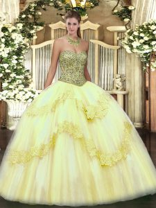 Glamorous Light Yellow Sleeveless Floor Length Beading and Appliques Lace Up Quinceanera Gowns
