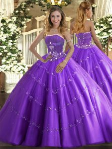 Sophisticated Lavender Lace Up Vestidos de Quinceanera Beading and Appliques Sleeveless Floor Length