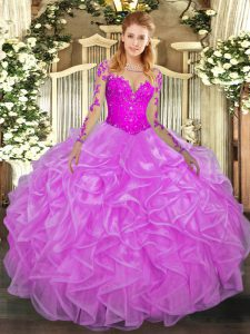 Top Selling Lilac Long Sleeves Floor Length Lace and Ruffles Lace Up Sweet 16 Dresses