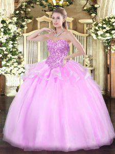 Artistic Lilac Sleeveless Floor Length Appliques Lace Up 15 Quinceanera Dress