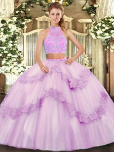 Customized Floor Length Criss Cross 15th Birthday Dress Lilac for Military Ball and Sweet 16 and Quinceanera with Beading and Appliques and Ruffles
