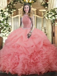Watermelon Red High-neck Lace Up Beading and Ruffles and Pick Ups Quinceanera Dress Sleeveless
