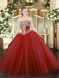 Floor Length Lace Up Vestidos de Quinceanera Wine Red for Military Ball and Sweet 16 and Quinceanera with Beading