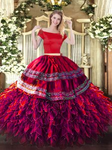 Floor Length Two Pieces Short Sleeves Fuchsia 15th Birthday Dress Zipper