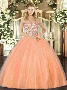 Decent Floor Length Ball Gowns Sleeveless Orange Sweet 16 Dresses Lace Up