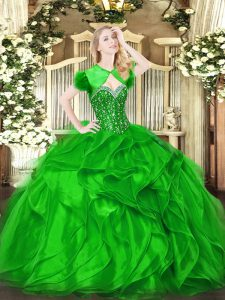 Affordable Green Ball Gowns Organza Sweetheart Sleeveless Beading and Ruffles Floor Length Lace Up Quinceanera Dresses