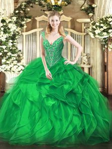 Green V-neck Neckline Beading and Ruffles Ball Gown Prom Dress Sleeveless Lace Up