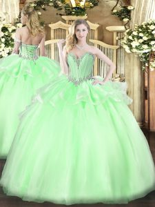 Elegant Apple Green Lace Up Sweetheart Beading Quinceanera Dress Organza Sleeveless