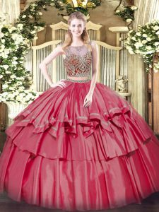 Sophisticated Scoop Sleeveless Lace Up 15th Birthday Dress Coral Red Organza and Taffeta