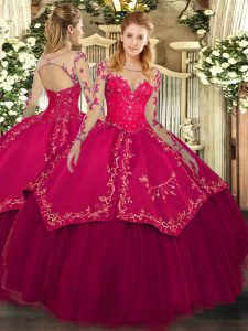Adorable Wine Red Ball Gowns Scoop Long Sleeves Organza and Taffeta Floor Length Lace Up Lace and Embroidery Quinceanera Gowns