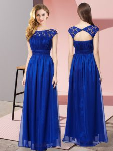 Ideal Empire Royal Blue Scoop Tulle Sleeveless Floor Length Zipper