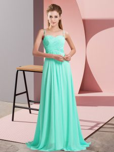 Charming Sleeveless Sweep Train Backless Ruching Prom Party Dress