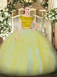 Glittering Gold Zipper Sweet 16 Quinceanera Dress Ruffles Short Sleeves Floor Length