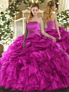 Chic Organza Sleeveless Floor Length Sweet 16 Dresses and Ruffles and Pick Ups
