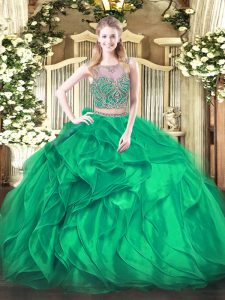 Classical Organza Sleeveless Floor Length Quinceanera Gown and Beading and Ruffles