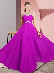 Top Selling Fuchsia Scoop Clasp Handle Beading Prom Evening Gown Sleeveless