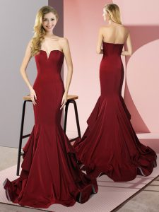 Sleeveless Elastic Woven Satin Sweep Train Side Zipper Homecoming Dress in Burgundy with Ruffles
