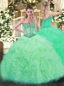 Apple Green Sleeveless Beading and Ruffles and Pick Ups Floor Length Vestidos de Quinceanera