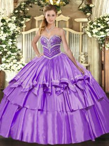 Edgy Lavender Sweetheart Neckline Beading and Ruffled Layers 15th Birthday Dress Sleeveless Lace Up