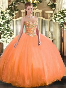 Embroidery Sweet 16 Dresses Orange Lace Up Sleeveless Floor Length
