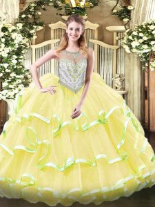 Yellow Green and Light Yellow Organza Zipper 15 Quinceanera Dress Sleeveless Floor Length Beading and Ruffled Layers