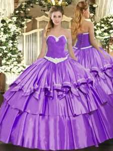 Fitting Appliques and Ruffled Layers Vestidos de Quinceanera Lavender Lace Up Sleeveless Floor Length