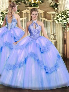 Inexpensive Blue Sleeveless Appliques and Sequins Floor Length Vestidos de Quinceanera