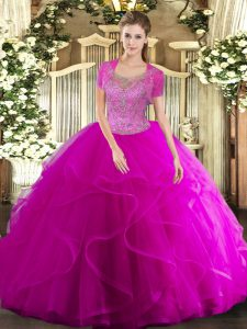 Exceptional Sleeveless Tulle Floor Length Clasp Handle Quinceanera Gown in Fuchsia with Beading and Ruffled Layers
