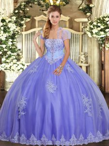 Lavender Lace Up Strapless Appliques Quinceanera Dress Tulle Sleeveless