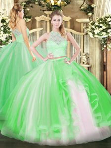 Fitting Sleeveless Tulle Floor Length Zipper Sweet 16 Quinceanera Dress in Green with Lace and Ruffles