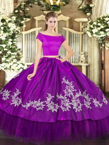 Floor Length Zipper 15 Quinceanera Dress Purple for Military Ball and Sweet 16 and Quinceanera with Embroidery