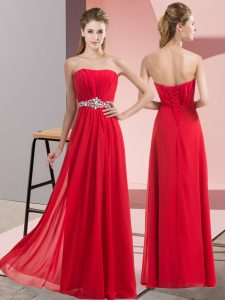 Red Chiffon Lace Up Strapless Sleeveless Floor Length Prom Party Dress Beading