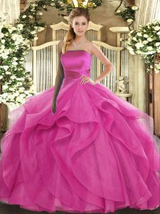 Chic Sleeveless Lace Up Floor Length Ruffles Sweet 16 Dresses